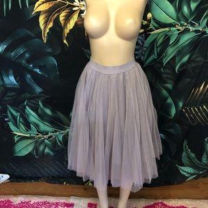 NWOT lavender layered tulle midi skirt